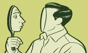 illustration d'un homme sans visage tenant un miroir dont sort un visage